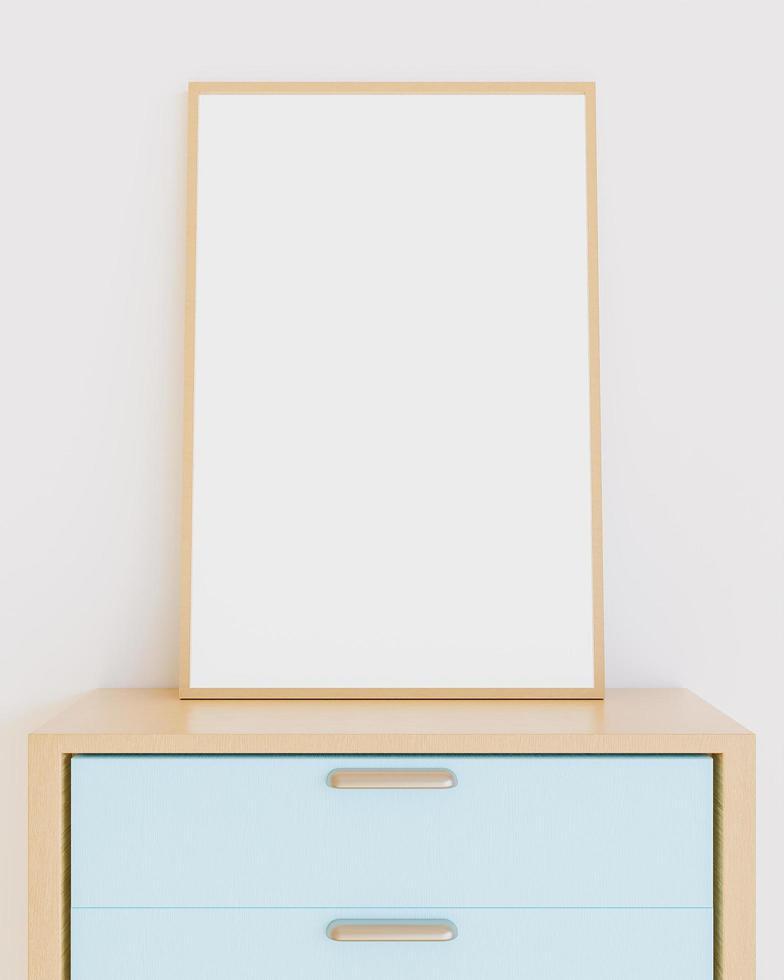 mockup di cornice in legno che si appoggia sui mobili della camera foto