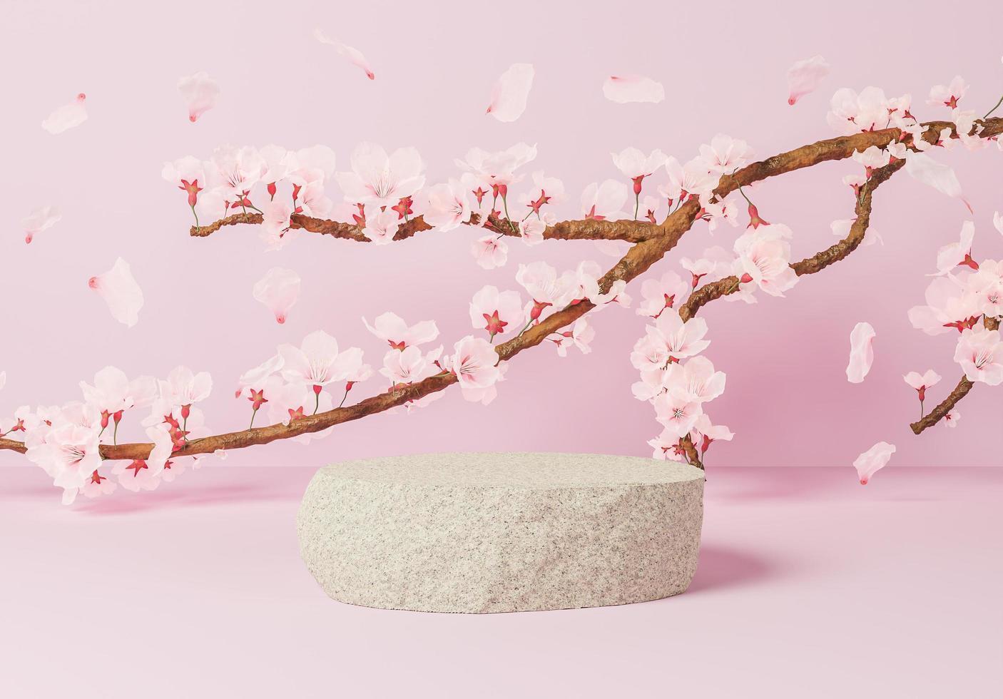 roccia per la presentazione del prodotto con un ramo pieno di fiori di ciliegio, illustrazione 3d foto