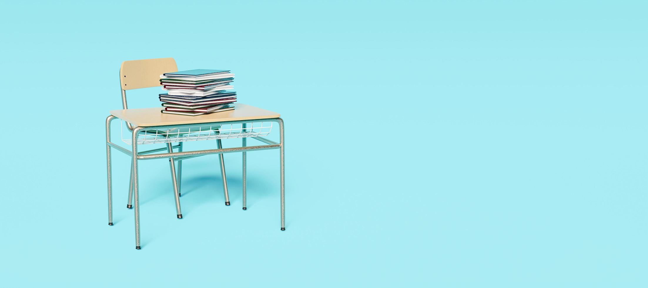 striscione blu con banco di scuola solitario foto