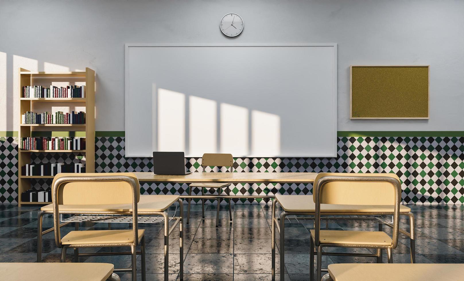 lavagna in un'aula di istruzione vista dai banchi foto