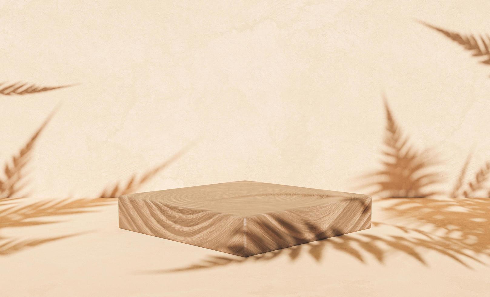 podio in legno per l'esposizione del prodotto con ombre di felce foto