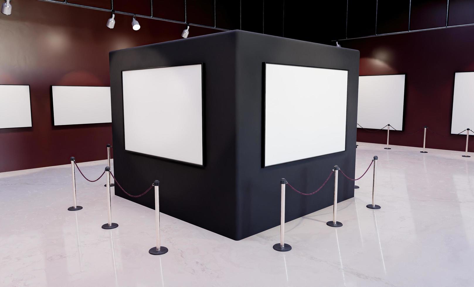 colonna museale con mockup di cornici con faretti illuminanti foto