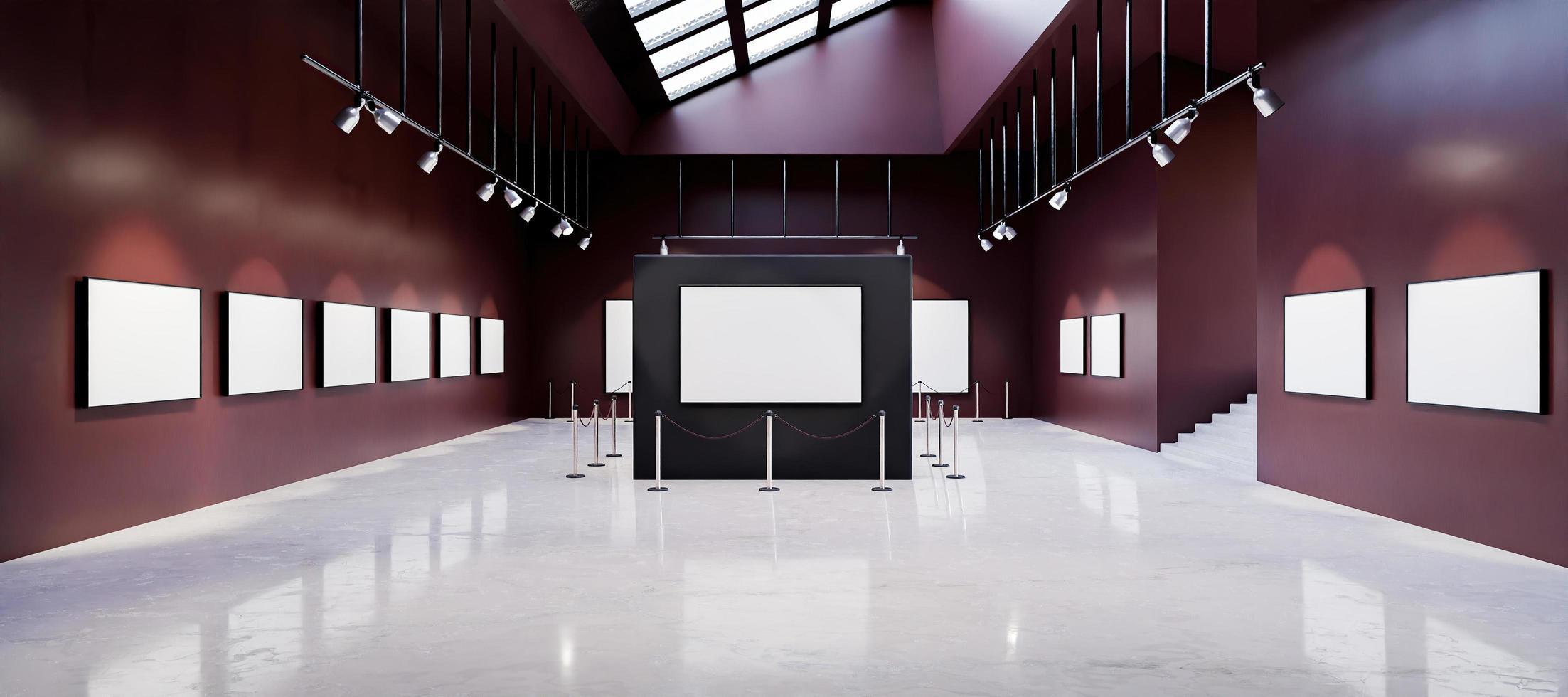 mockup del museo della galleria d'arte pieno di dipinti bianchi foto