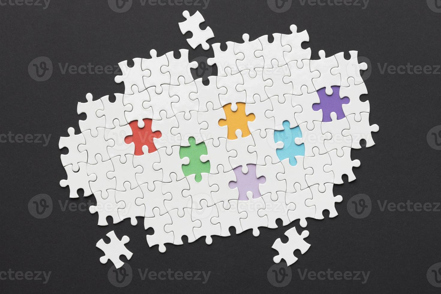 disposizione diversità con diversi pezzi del puzzle foto