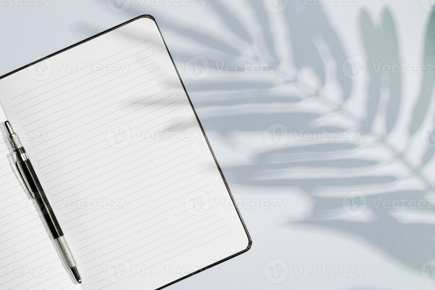 copia spazio notebook con foglie ombra foto