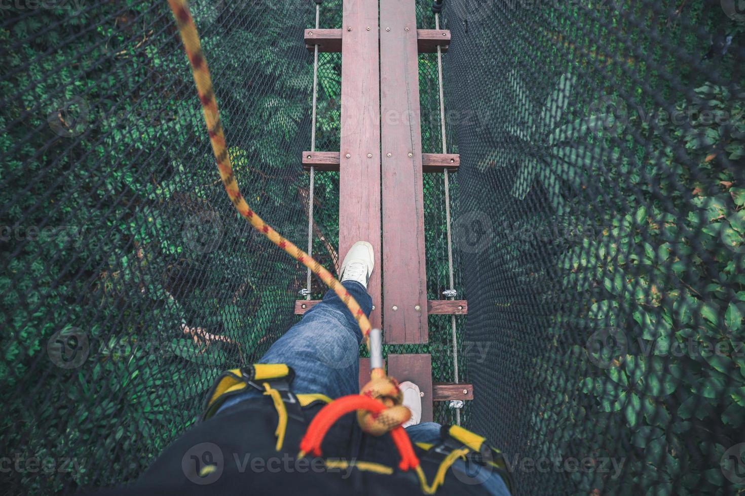 camminando sul ponte in cima all'albero foto