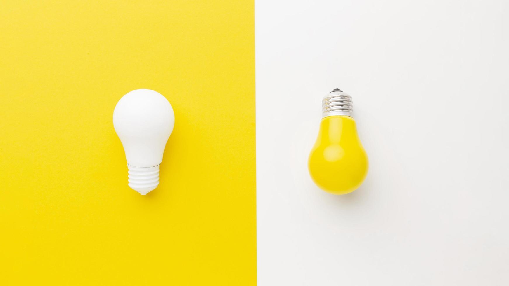 disposizione piatta di due lampadine foto