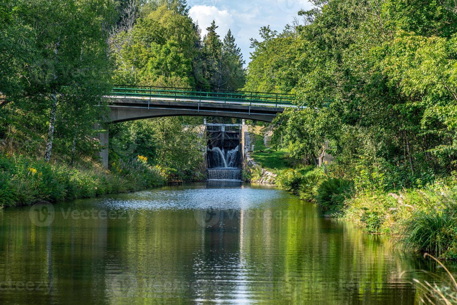 Vista estiva del canale di Stromsholms in Svezia foto