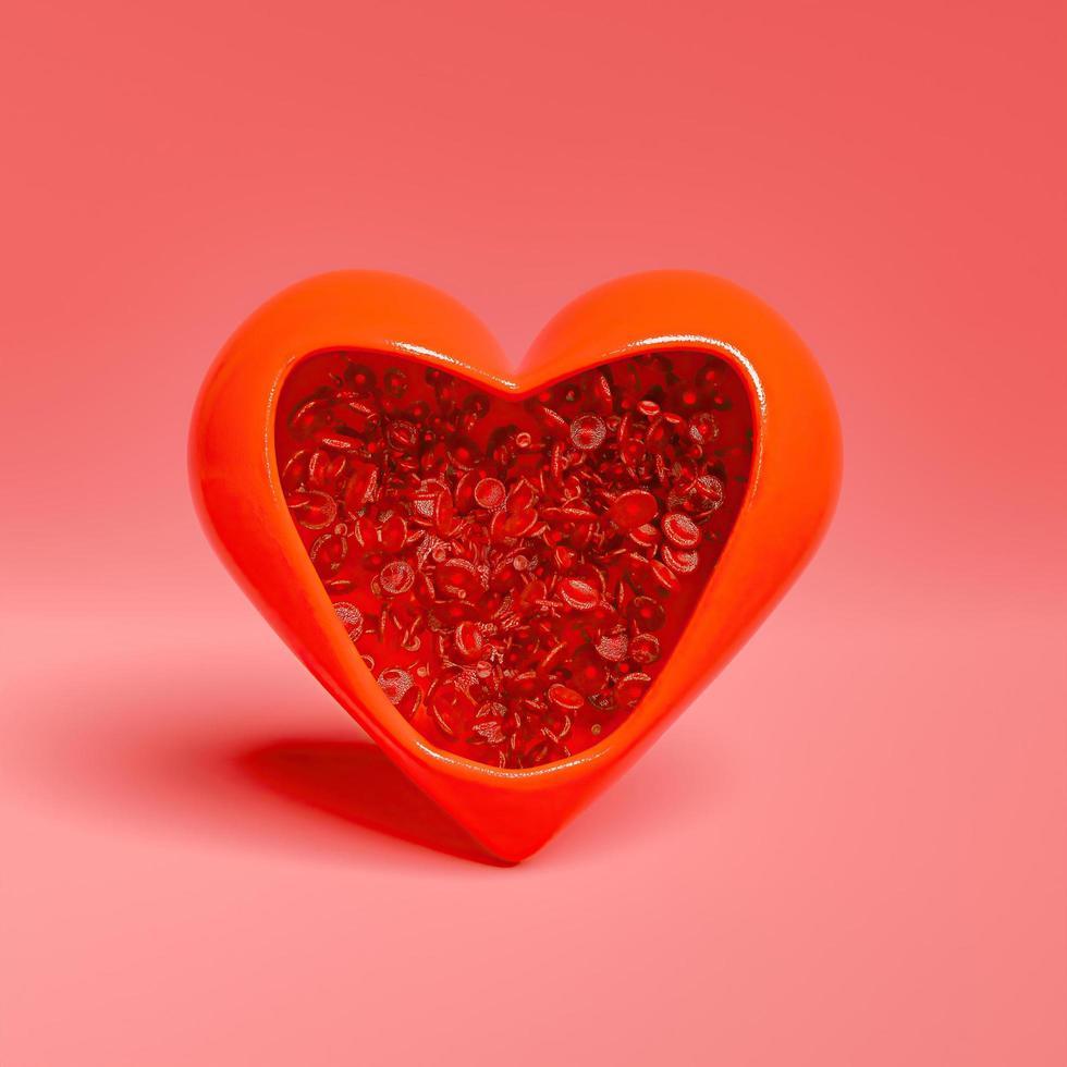 a forma di cuore aperto pieno di globuli rossi sani foto