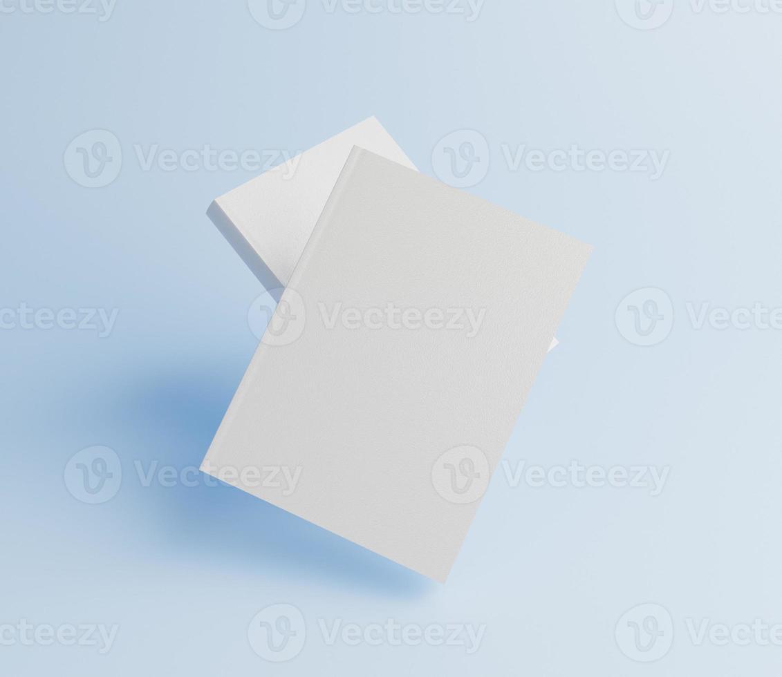 mockup di libri con sfondo blu foto