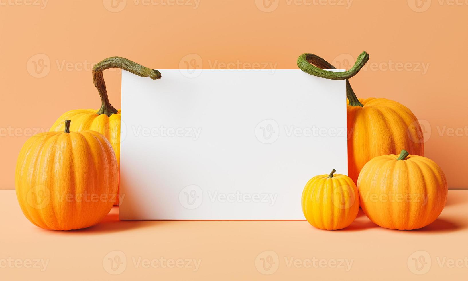 cornice vuota con zucche intorno su sfondo pastello foto