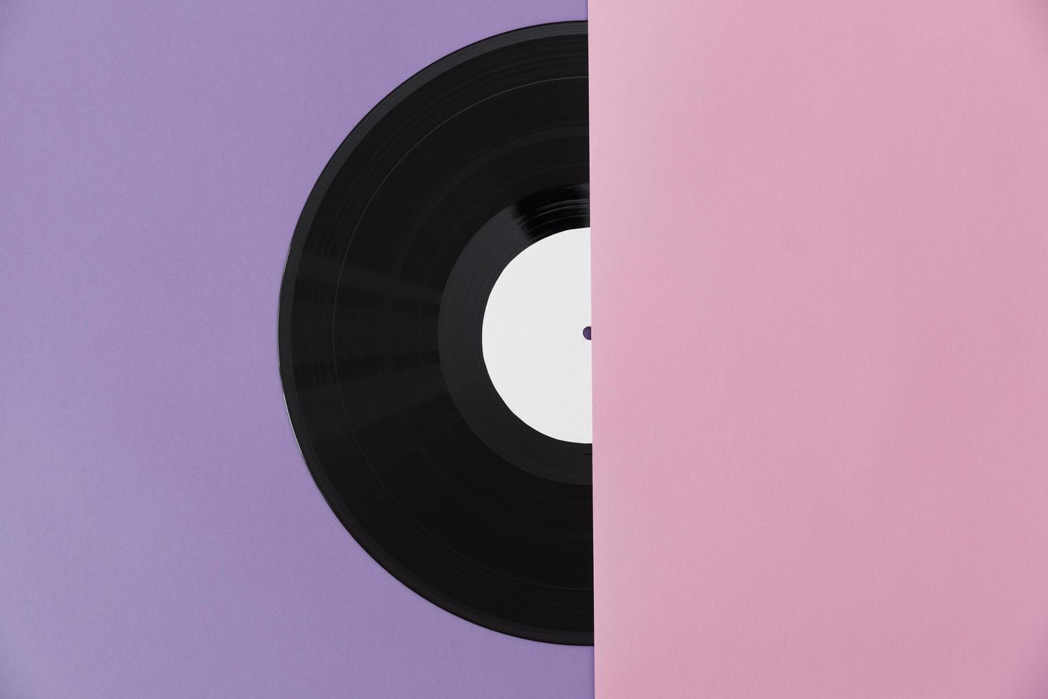 arrangiamento di dischi in vinile vista dall'alto foto