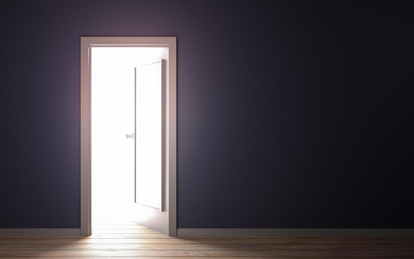 luce che fuoriesce dall'illustrazione 3d della porta foto