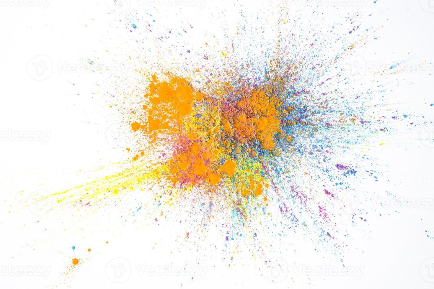 polvere di colore secco giallo, rosa, arancione e blu foto