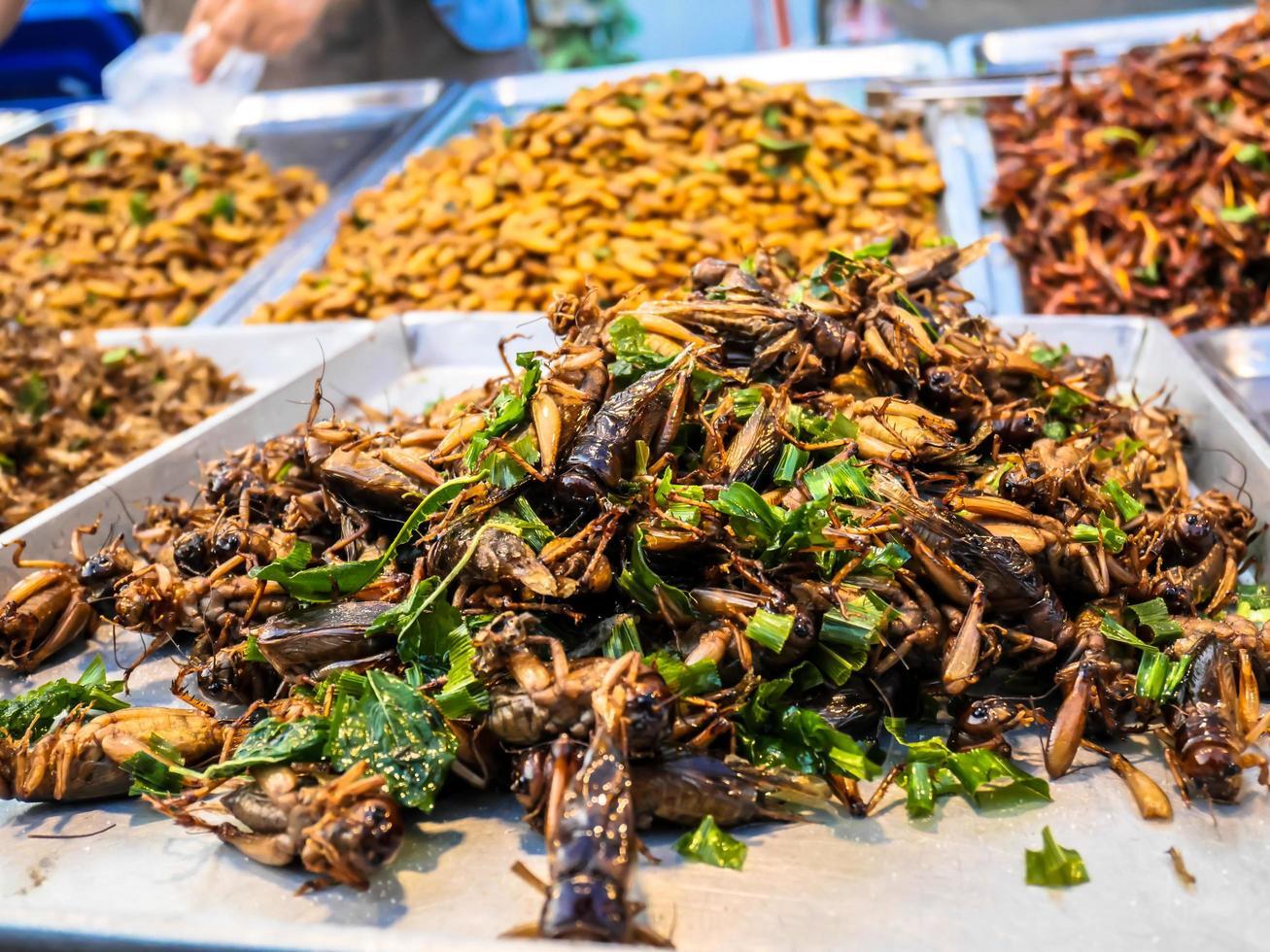 insetti fritti nel cibo di strada del mercato notturno della thailandia foto