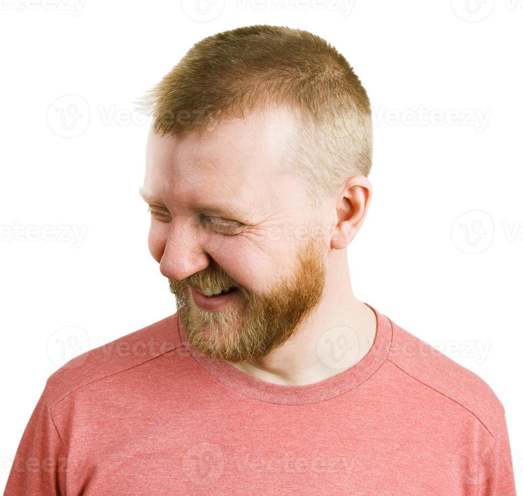 l'uomo divertente in camicia ride foto