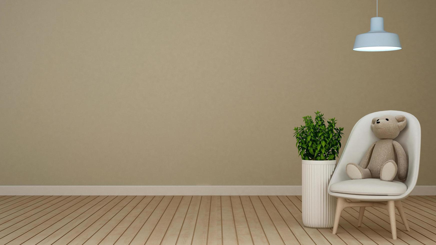 orsacchiotto sulla poltrona di casa o appartamento foto
