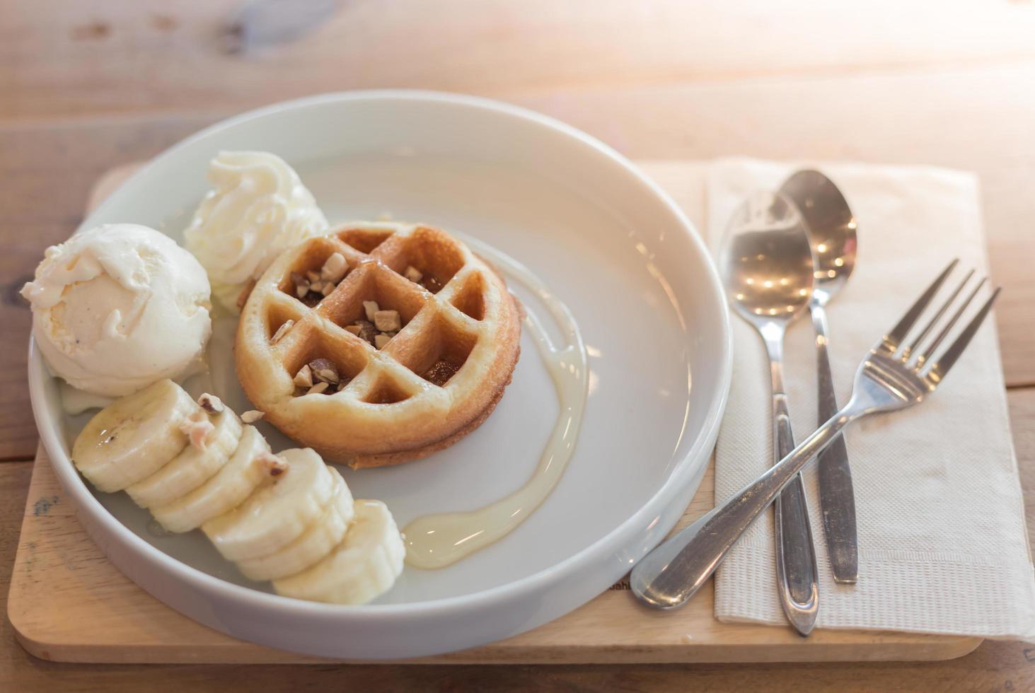 waffle e gelato foto