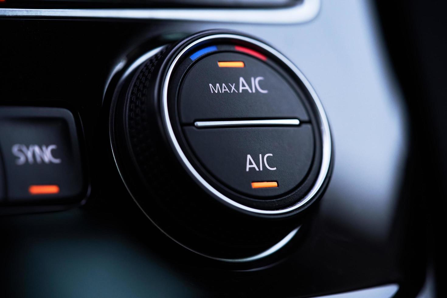impianto di aria condizionata per auto. aria condizionata attivata modalità di raffreddamento massimo foto
