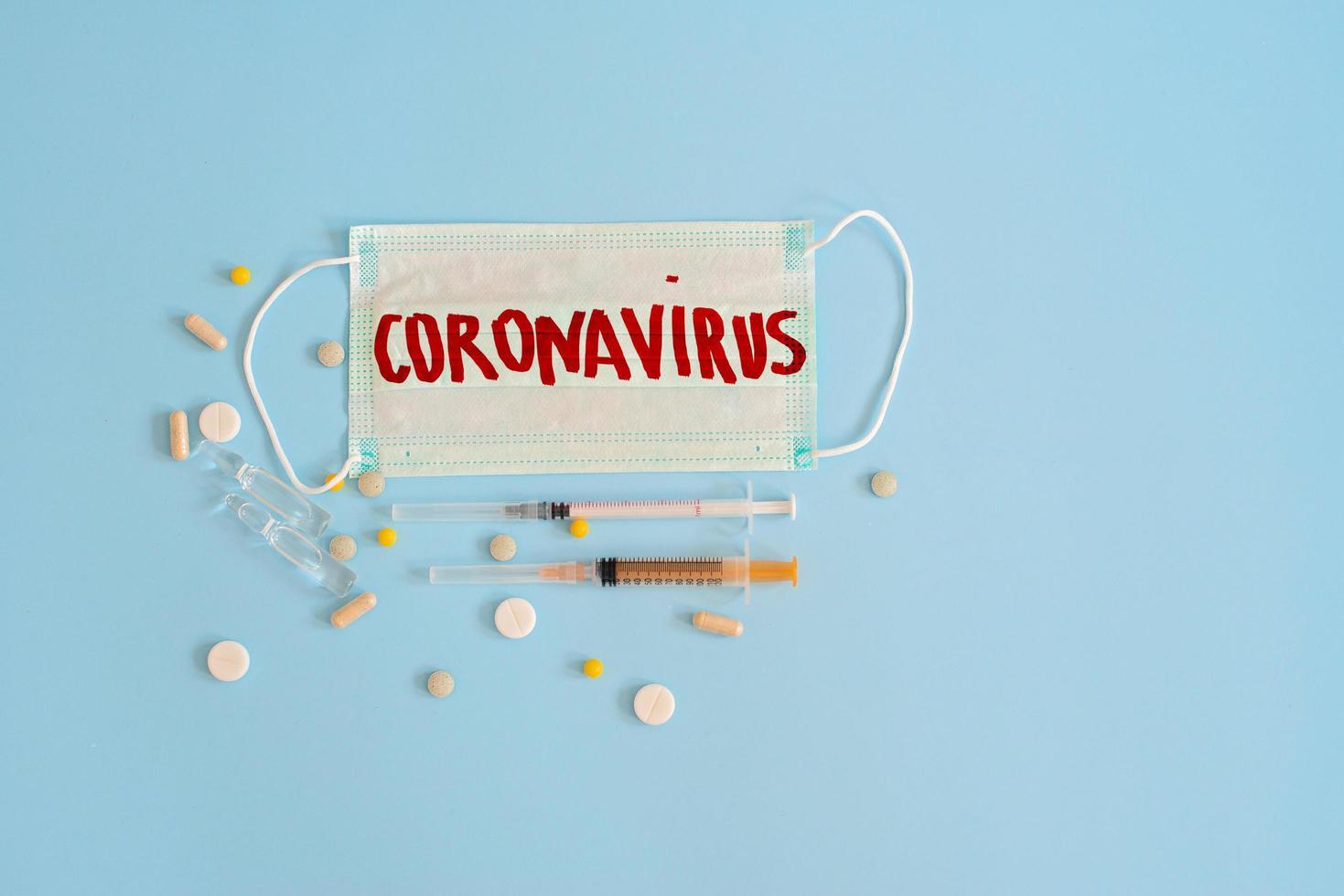 concetto di coronavirus su sfondo blu foto