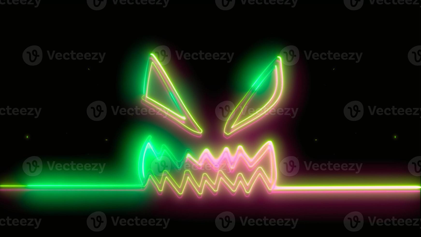 neon verde halloween spaventoso, emoji, rendering 3d, foto