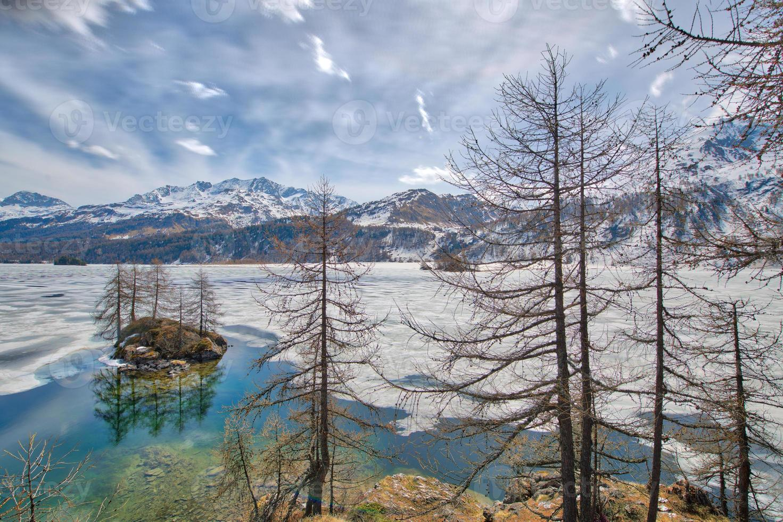 disgelo in engadina con isolotto nel lago delle alpi svizzere foto