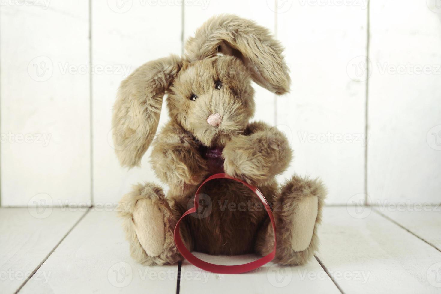 coniglietto di orsacchiotto con tema d'amore di San Valentino o anniversario foto