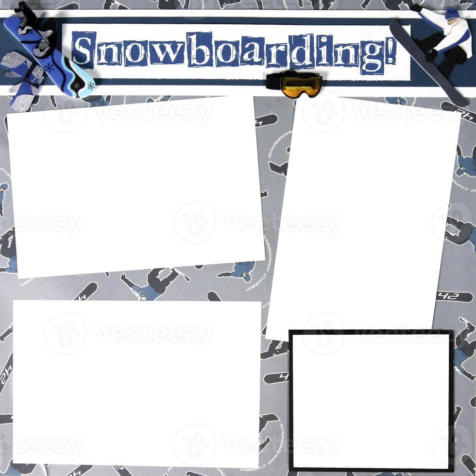 modello di cornice per album a tema snowboard foto