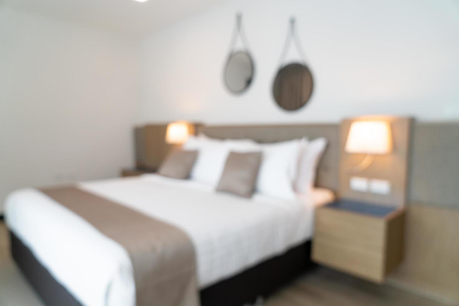 sfocatura astratta bella camera da letto di un hotel di lusso foto