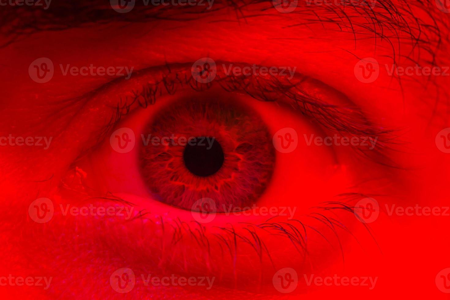 macro sull'occhio dell'uomo che esprime sorpresa scioccata e espressione di paura foto