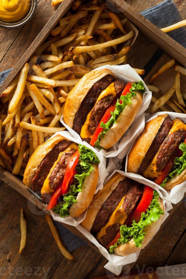 doppio cheeseburger e patatine fritte foto