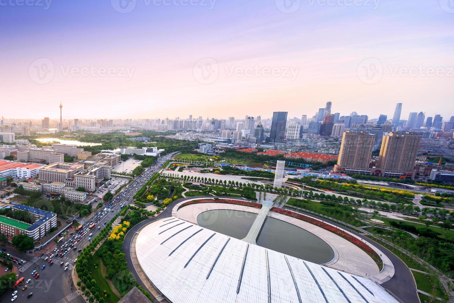 skyline panoramico e moderni edifici di Tianjin foto