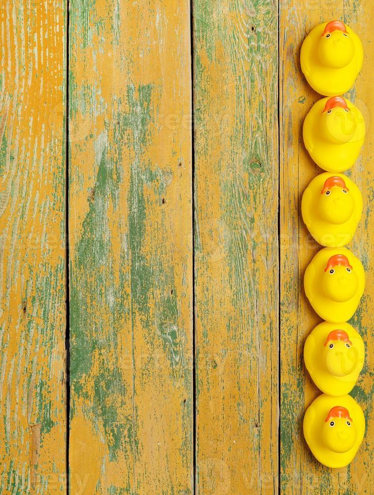 anatre di gomma su legno foto