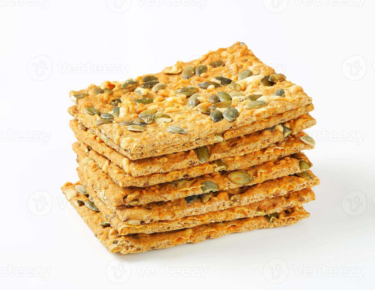 Cracker di cheddar ai semi di zucca foto