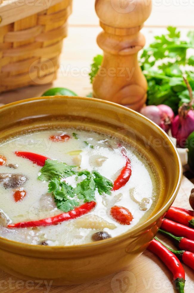 zuppa di latte di cocco in stile tailandese con pollo foto