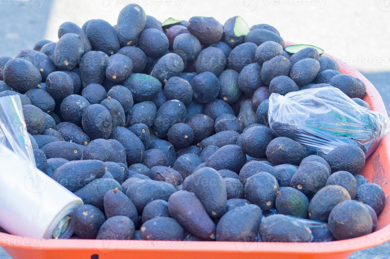 varietà di avocado haas accatastati in una carriola foto