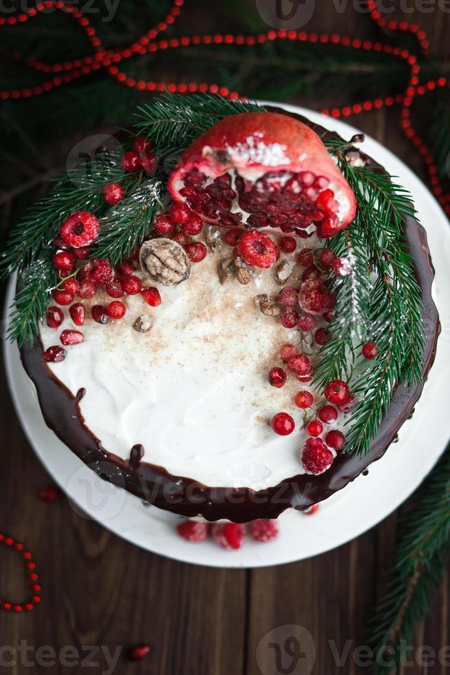 Deserto di Natale con frutti sul tavolo foto