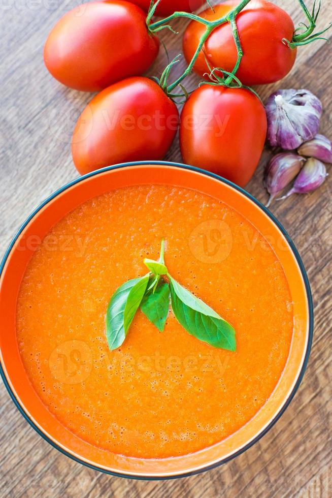 ciotola di zuppa di pomodoro gaspacho foto