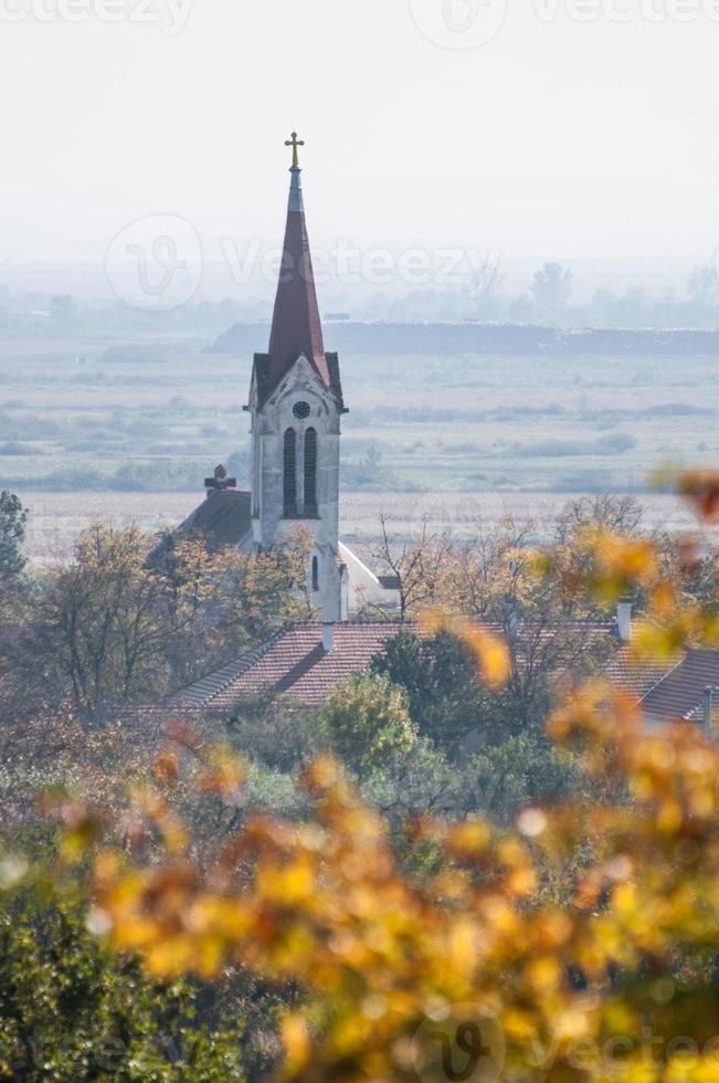 chiesa in un villaggio e un albero - vista verticale foto