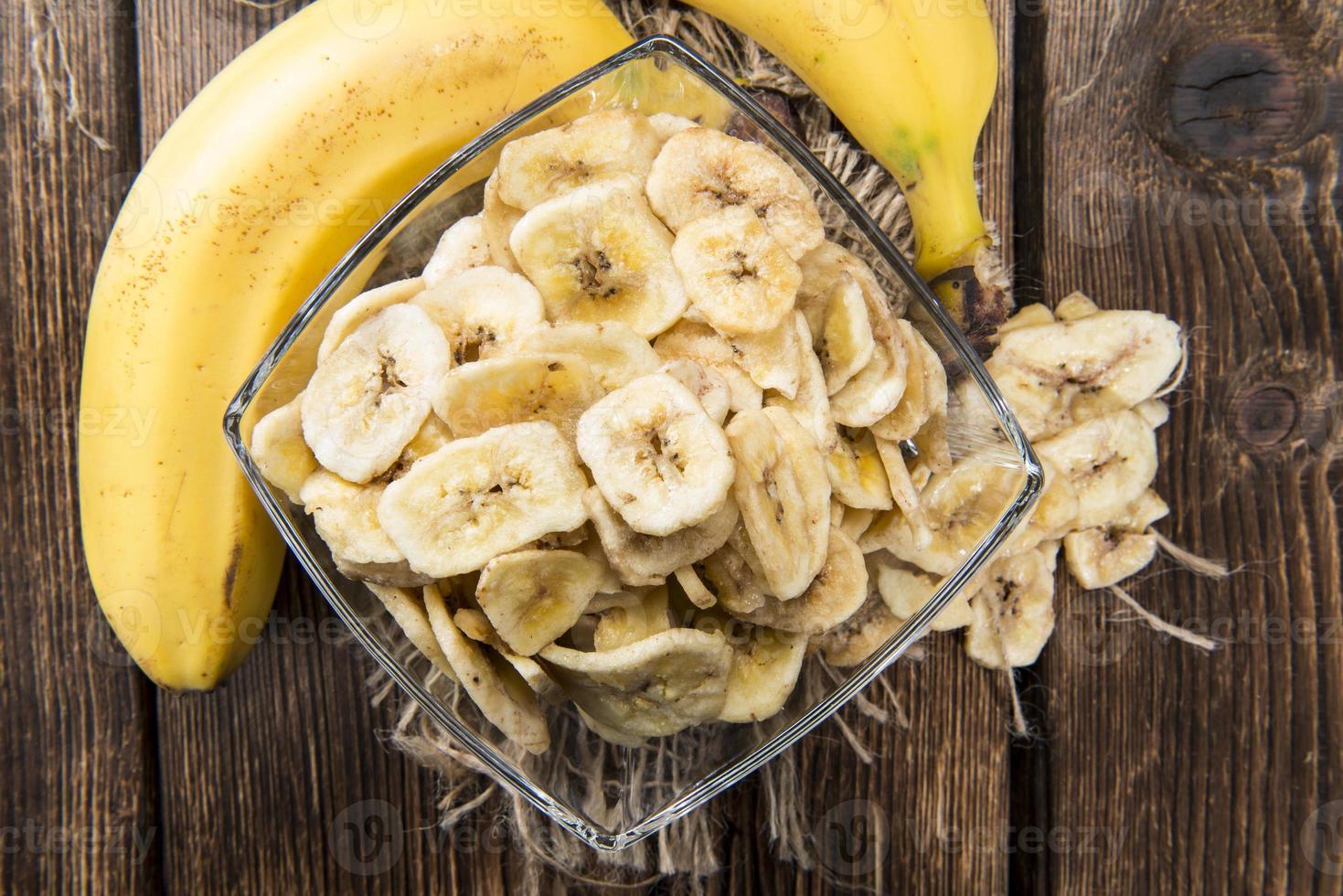 chips di banana (ripresa ravvicinata) foto