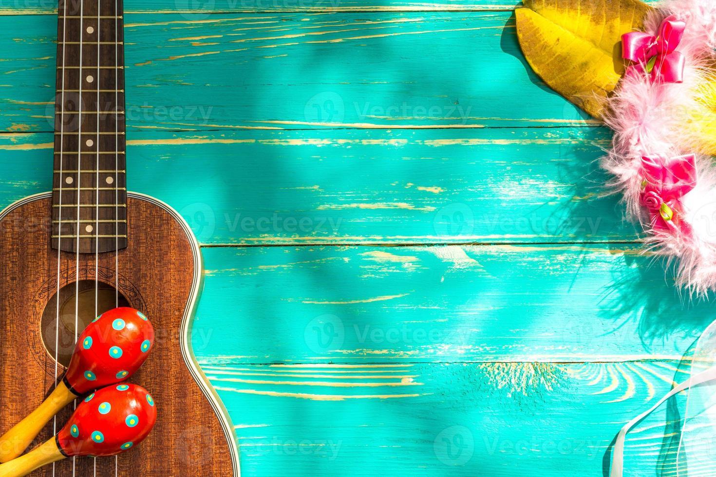 ukulele con sfondo stile hawaii foto