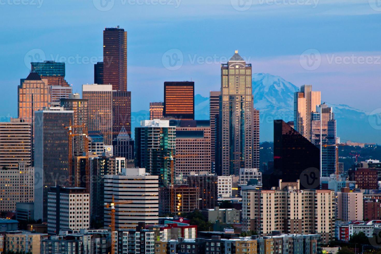 skyline di Seattle dal parco di Kerry foto