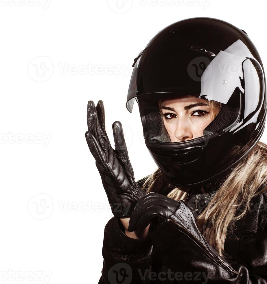 donna che indossa abito motorsport foto