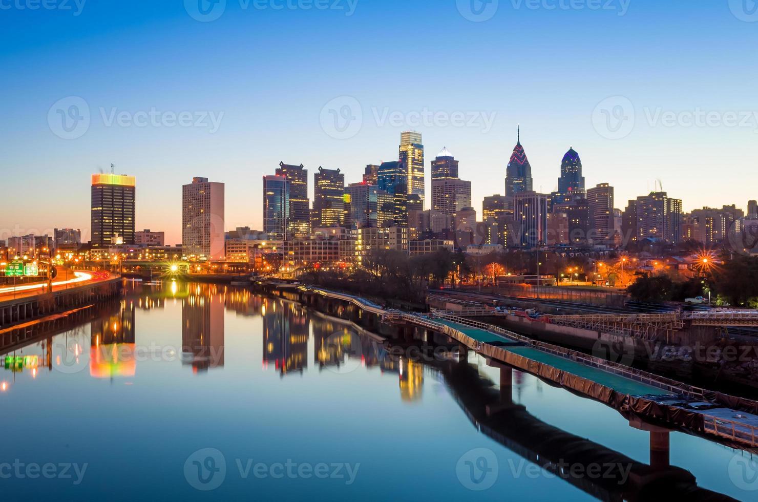 skyline del centro di philadelphia, pennsylvania. foto