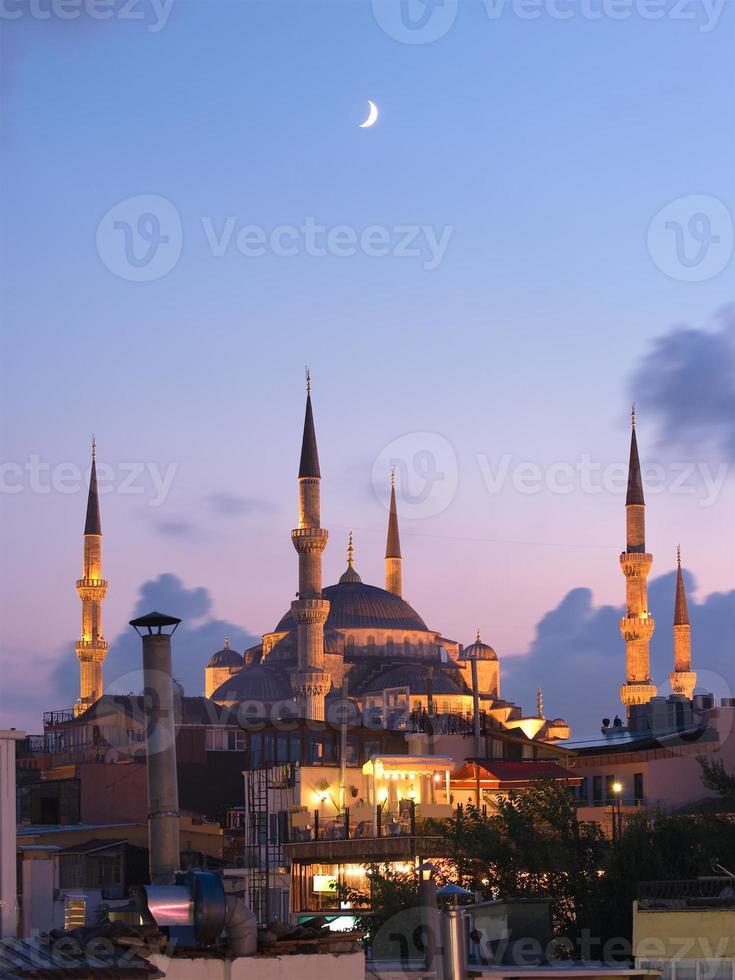 moschea di aya sofya e luna araba foto
