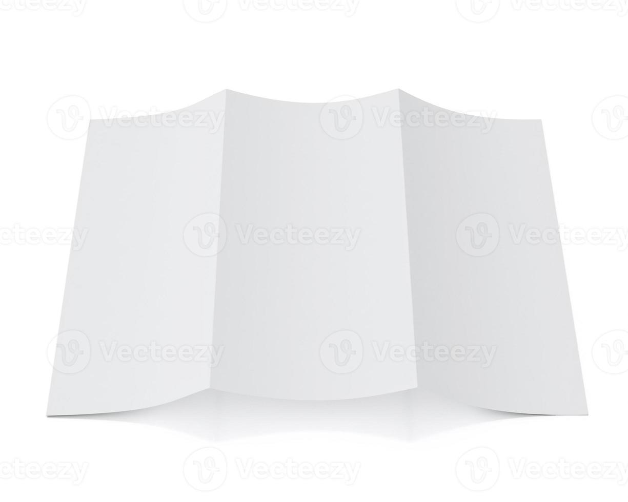 Modello 3d dell'opuscolo in bianco che si trova, isolato su fondo bianco foto