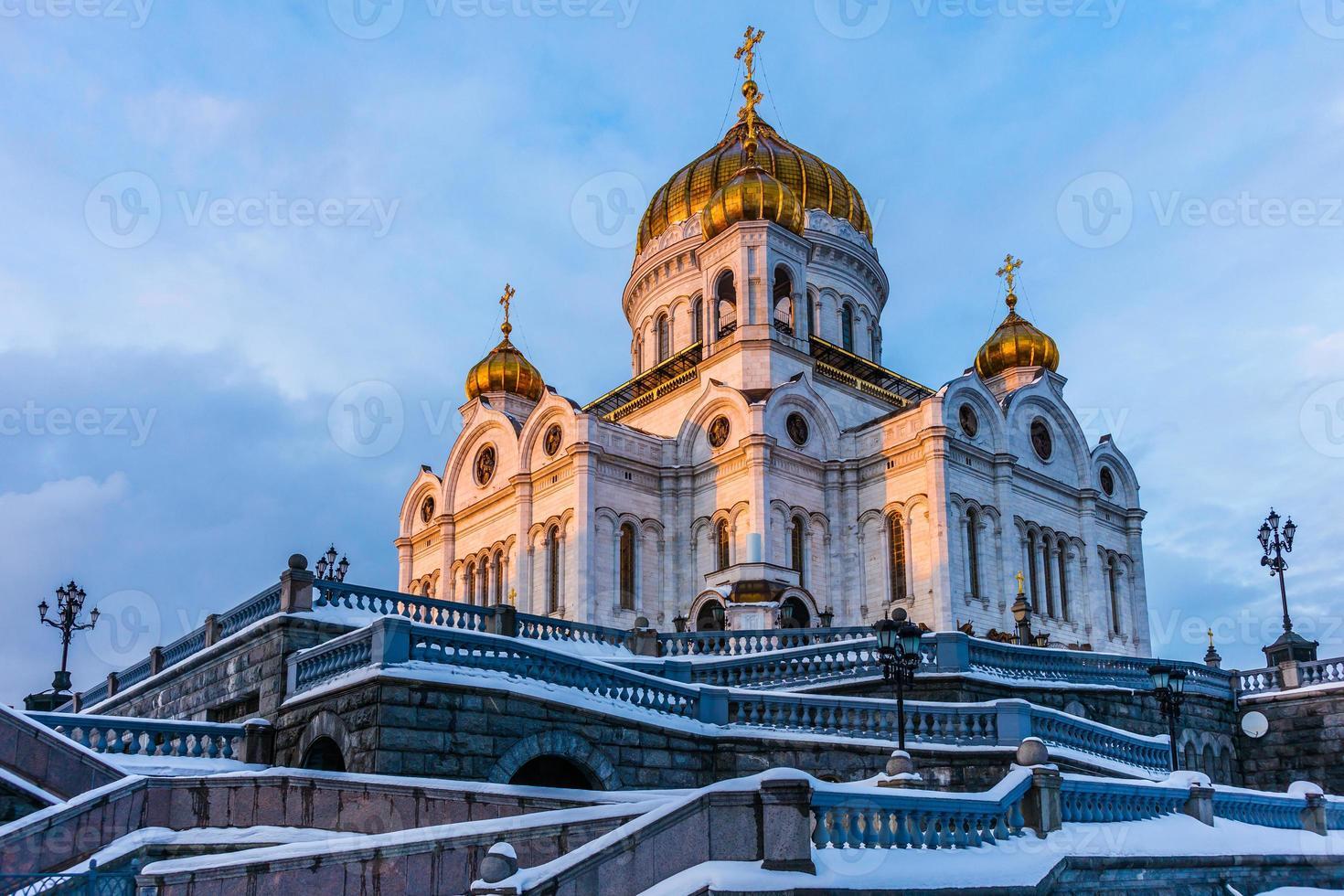 Cattedrale di Cristo Salvatore al tramonto invernale foto