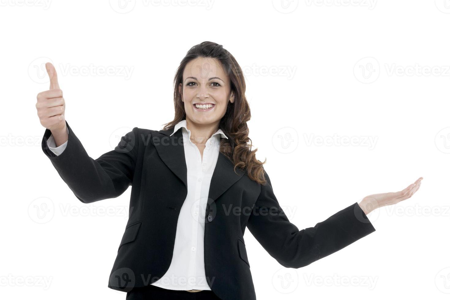 donna leader, manager fa l'allenamento. mani in alto foto