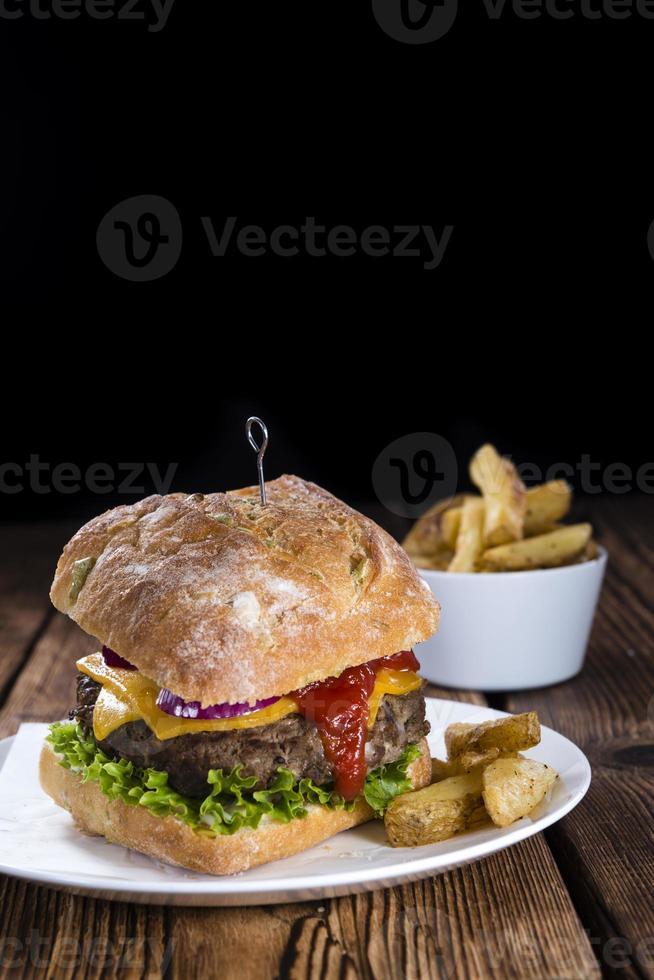 hamburger di ciabatta fatto in casa foto