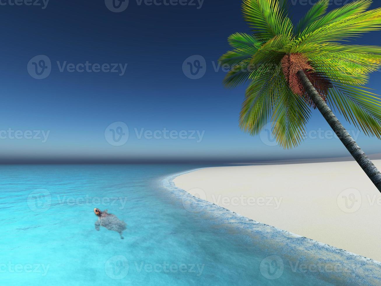 3d rendono della tartaruga nella spiaggia della palma del mare foto